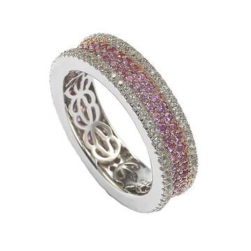 Suzy Levian Sterling Silver Pink Sapphire and Diamond Accent Pave Eternity Band