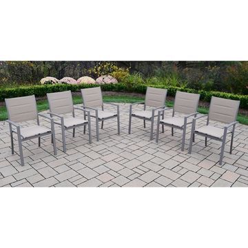 Oakland Living Padded Sling Aluminum Stackable Patio Dining Chairs