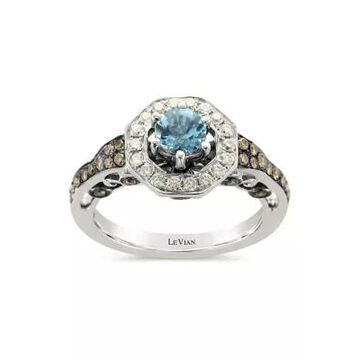 Le Vian Women 1/2 Ct. T.W. Diamond And 1/3 Ct. T.W. Aquamarine Ring In 14K White Gold - -