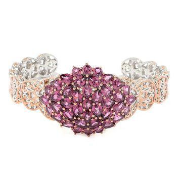 Michael Valitutti Palladium Silver Rose Garnet Cluster Cuff Bracelet