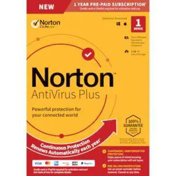 Norton AntiVirus Plus with Auto Renewal for 1 Device, Windows/Mac, Product Key Card (21392074) | Quill
