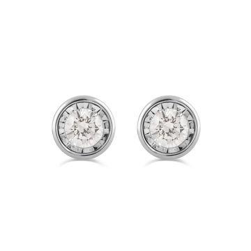 Divina Sterling Silver 1/2ct TDW Diamond Stud Earrings