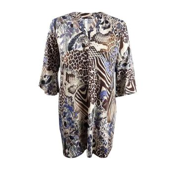 NY Collection Women's Petite Plus Size Printed Shift Dress - Cat Camping