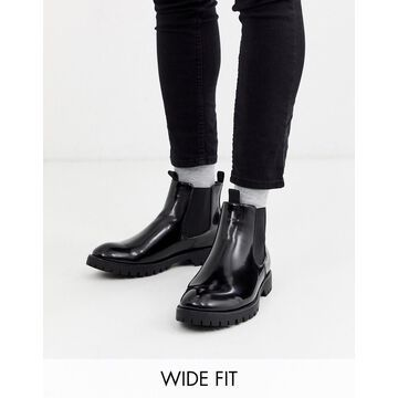 Truffle Collection wide fit chelsea chunky boot in black
