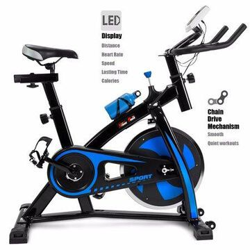 XtremepowerUS Stationary Exercise Bicycle Bike Cycling Cardio Health Workout Fitness with Bottle Holder Heart Pulse, Blue