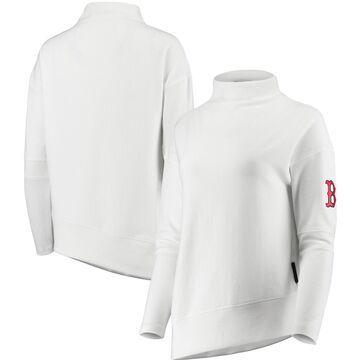 Women's Levelwear White Boston Red Sox Lana Mock Neck Pullover Sweatshirt