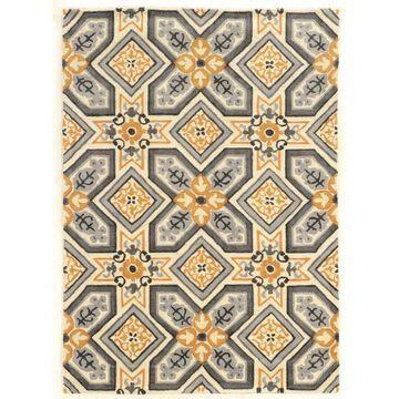 Linon Trio 5 x 7 Gray/gold Indoor Geometric Area Rug Polyester