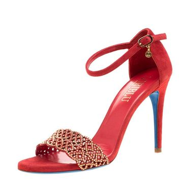 Loriblu Red Suede Studded Cut Out Ankle Strap Sandals Size 37.5