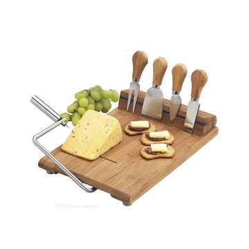Stilton Bamboo Cheese Board Set with Wire Slicer and 4 Tools