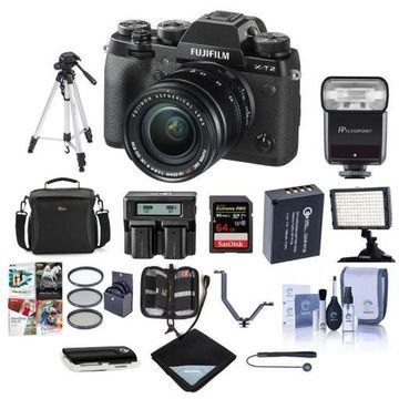 ''Fujifilm X-T2 Mirrorless with 18-55mm OIS Lens, Black With Pro Accessory Bundle''