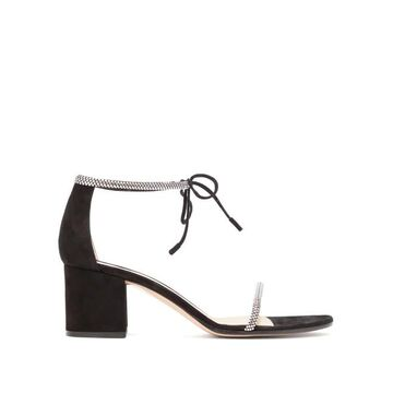 Gianvito Rossi - Aria 60 Crystal-embellished Block-heel Sandals - Womens - Black