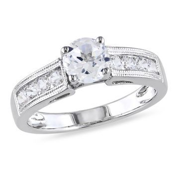 Modern Bride Gemstone Womens Lab Created White Sapphire Engagement Ring