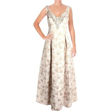 Aidan Mattox Womens Evening Dress Metallic Jacquard
