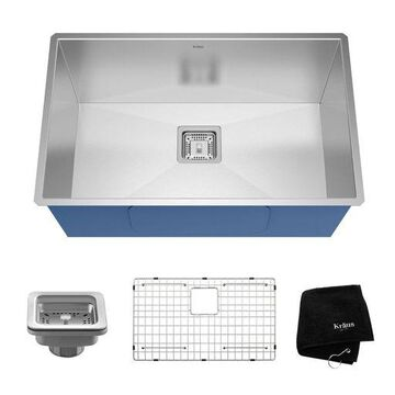''Kraus Pax 28'''' Rectangular Undermount Single Bowl Stainless Steel Kitchen Sink''