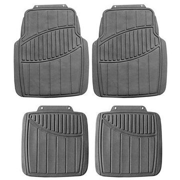 FH GROUP Trimmable All Weather Protection Full Set Floor Mats, Gray