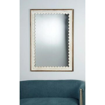 Rustic 48 Inch Rectangular Wooden Framed Wall Mirror by Studio 350 - Brown (Brown)