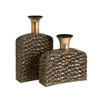 IMAX Home 12918-2 Liana Reptilian Angular Bottles, Set of 2, Copper