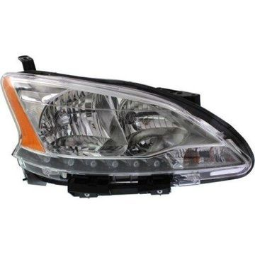 Headlight Depo - 13-15 Nissan Sentra Halogen (WITH LED ACCENTS) Head Lamp Assembly RIGHT HAND / PASSENGER SIDE CAPA Certified