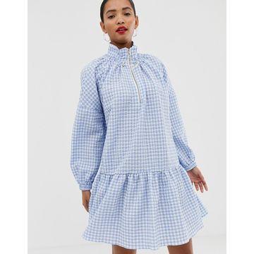 ASOS WHITE drop waist gingham smock dress