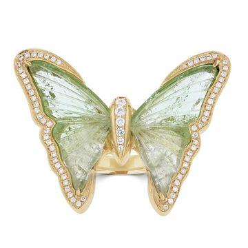 La Vita Vital 14K YG Tourmaline 10.57TGW & Diamond 0.31ct Ring - Green