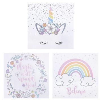 Trend Lab Rainbow Unicorns 3-Pc. Canvas Wall Art