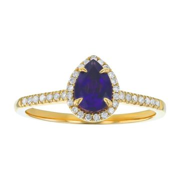 10k Yellow Gold 3/4 ct Diamonds and Pear Amethyst Halo Ring by Beverly Hills Charm