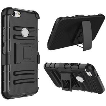 Insten Dual Layer Hybrid Stand PC/TPU Rubber Holster Case Cover For Google Pixel 3 - Black