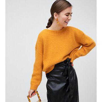 Monki textured oversized sweater in yellow