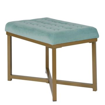Benzara Modern Teal Blue and Gold Accent Bench