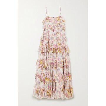 Needle & Thread - Jasmine Hemsley Harmony Ruffled Floral-print Tulle Midi Dress - Ecru