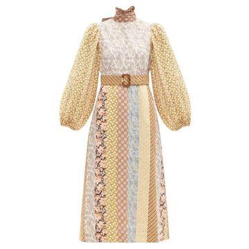 Zimmermann - High-neck Patchwork Linen Midi Dress - Womens - Brown Stripe