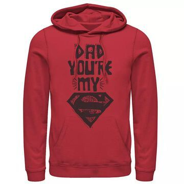 Men's DC Comics Superman Dad Text Poster Hoodie, Size: Large, Red