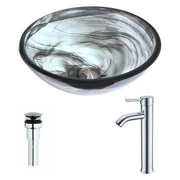 ANZZI Mezzo Series Deco-Glass Vessel Sink with Fann Faucet