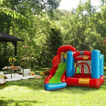 XtremepowerUS Kids Inflatable Bounce House (6 in 1 Play Center) Bouncing House Jump & Slide w/ Blower