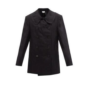 Maison Margiela - Silk-organza Overlay Cotton Peacoat - Womens - Black