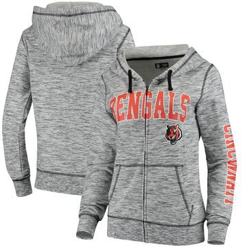 Women's 5th & Ocean by New Era Heathered Black Cincinnati Bengals Athletic Space Dye Full-Zip Hoodie