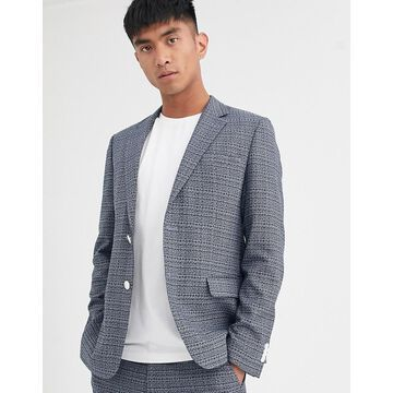 Noak suit jacket in blue texture fabric