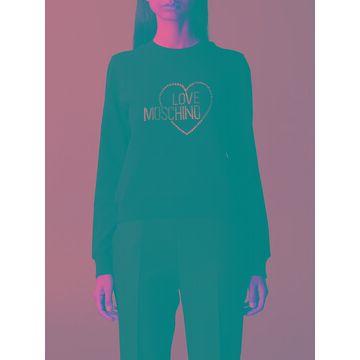 Love Moschino Sweatshirt Love Moschino Crewneck Sweatshirt With Rhinestone Logo