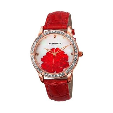 Akribos XXIV Women's Crystal Accent Leather Watch - AK805RD