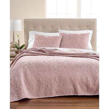 Pink Rose Velvet Flourish King Quilt, Created for Macy's