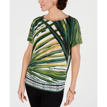 Printed Cold-Shoulder Dolman-Sleeve Top, Created for Macy's