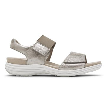 Aravon Womens Beaumont 2-Strap Sandal - Size 10 D Gray
