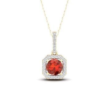 Imperial Gemstone 10K Yellow Gold Round Cut Madeira Citrine 1/10 CT TW Diamond Halo Pendant Necklace