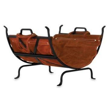 UniFlame Log Holder with Leather Carrier (Black Wrought Iron)