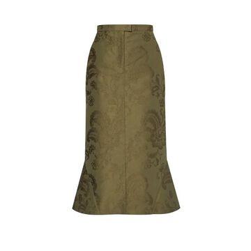 Erdem - Felton Floral-jacquard Cotton-twill Skirt - Womens - Green