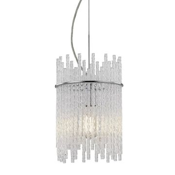 allen + roth Swizzle Polished Chrome Mini Traditional Cylinder Pendant Light