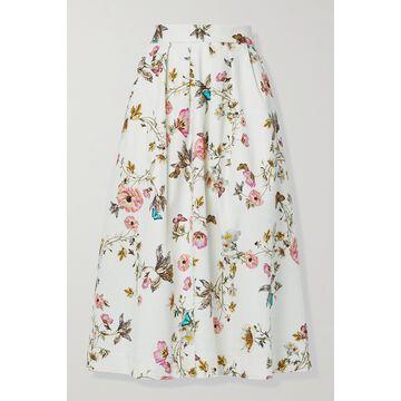 Monique Lhuillier - Pleated Floral-print Cotton-blend Midi Skirt - White