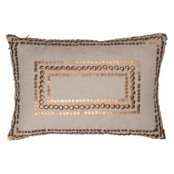 Dashiell Copper Beaded Pillow, Linen, 14x20