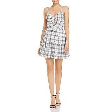 Finders Keepers Sadie Plaid Drawstring-Detail Mini Dress