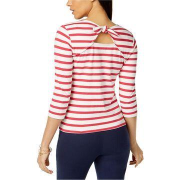 maison Jules Womens Striped Bow Basic T-Shirt